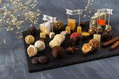 Set świetni czekoladowi cukierki i ser Bielu, ciemnej i dojnej czekolada, brie, błękitny ser, koźli parmisan na talerzu, ser, i obrazy royalty free