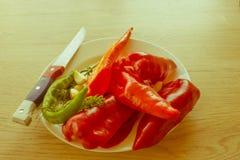 Set świezi warzywa na drewno stołu tle Zieleń Zdjęcia Royalty Free