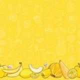 Set żółci owoc i warzywo na jasnożółtym tle Obrazy Stock