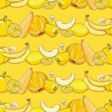 Set żółci owoc i warzywo na jasnożółtym wzorze Obraz Royalty Free