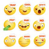 Set żółci smiley twarzy emoticon charaktery w różnorodnych emocjach Obrazy Stock