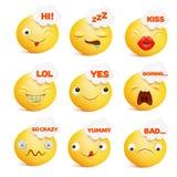 Set żółci smiley twarzy emoticon charaktery w różnorodnych emocjach Zdjęcie Royalty Free