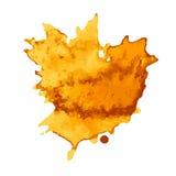 Set żółta farba, atrament, grunge, brudni muśnięć uderzenia Obrazy Royalty Free
