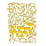 Set żółte wektorowe strzała i geometryczni kształty ilustracji