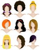 Set żeńskie fryzury Obrazy Stock
