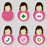 Set żeńskie użytkownik ikony Obrazy Stock