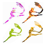 Set 4 żeńskiej sylwetki łączył z zielonym liściem, płonący fi Obrazy Royalty Free