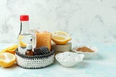 Set życzliwi naturalni czyści produkty, metalu muśnięcie, cytryna, wypiekowej sody sodium dwuwęglan, mydło, istotni oleje, łachma zdjęcie stock