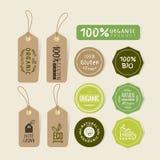 Set żywności organicznej etykietki i etykietki majcheru projekt Zdjęcie Royalty Free