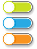 Set 1 of circle and cylinder labels. Set 1 of cute and colorful circle with shadow over cylinder label or sticker with shadows, ready for your text, as web Royalty Free Stock Images