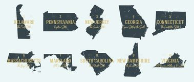 Free Set 1 Of 5 Highly Detailed Vector Silhouettes Of USA State Maps With Names And Territory Nicknames Stock Images - 162566334