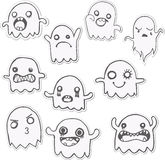 Set of 10 Cute Ghosts Stickers. Stock Images