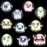 Set of 10 Cute Glowing Ghosts Stock Photo