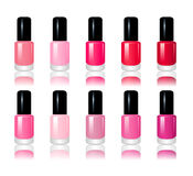 Set of 10 nail polish. A  illustration of 10 bottles of nail polish of various colors  on a white background Stock Photography