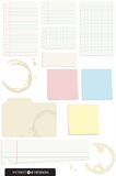 Set of 10 Note Paper Vectors. A selection of note paper, post-it notes and torn scraps of paper. All have  shadows, no gradients used. Also includes coffee Royalty Free Stock Images