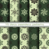 Set of 10 Seamless Decorative Floral Patterns Royalty Free Stock Photos