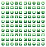 Set of 100 icons for web. 100 web, business, media and leisure icons set. Green  buttons Stock Images