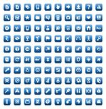 Set of 100 icons for web and interface. 100 web, business, media and leisure icons set. Blue  buttons Stock Photography