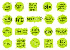 Set  of  100% organic, natural, bio,farm,  raw, eco, healthy foo Royalty Free Stock Photos