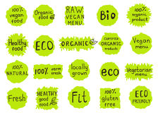 Set  of  100% organic, natural, bio,farm,  raw, eco, healthy foo. D labels.  Badges for  vegan  cafe, restaurant  menu, products packaging. Hand drawn vector Royalty Free Stock Photos