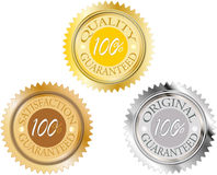 Set of 100 percent guaranteed. Seal or medal 100 percent guaranteed for business web Stock Photos