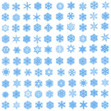 Set of 100 unique blue snowflakes in fractal style. Set of 100 unique, blue snowflakes in fractal style on white background. High resolution abstract image Stock Illustration