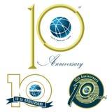 Set of 10th anniversary mark illustration design o Stock Images