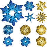 Set of 11 3D Snowflakes. 11 3D Snowflakes Vectors in Blue and Golden Colors Stock Image