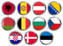 Set of 11 Flags in Round Metal Frame-Europe Royalty Free Stock Photography