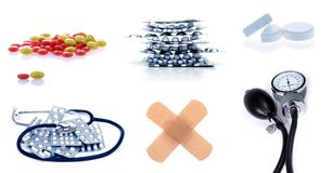 Set of. Collection of meds: lots of pills and sphygmomanometer Royalty Free Stock Image