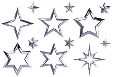 Set of 12 chrome stars Royalty Free Stock Photo