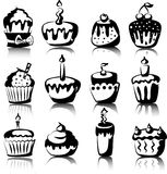 Set of 12 cupcakes, vector Stock Photos