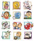 Set of 12 funny cartoon Zodiac signs Royalty Free Stock Photo