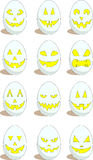 Set of 12 funny eggs for Easter. Vector set of 12 white eggs with funny and scary faces for Easter. No gradients used, EPS8 Stock Image