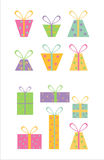 Set of 12 gift icons Royalty Free Stock Photos