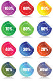 Set of 12 Glossy sales tags. Stickers with discount and reflection Vector Illustration Stock Photos