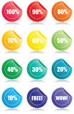 Set of 12 Glossy sales tags. Stickers with discount and reflection Vector Illustration Royalty Free Stock Photography
