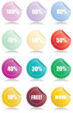 Set of 12 Glossy sales tags. Stickers with discount and reflection Vector Illustration Stock Images