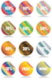 Set of 12 Glossy sales tags stickers. With discount and reflection Vector Illustration royalty free illustration