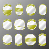 Set of 12 gold badges Royalty Free Stock Images