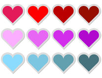 Set of 12 Heart Stickers Royalty Free Stock Photography