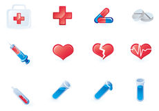 Set of 12 medical icons. Vector illustration Stock Photo