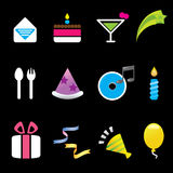 Set of 12 party icons Royalty Free Stock Photography