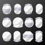 Set of 12 silver badges Royalty Free Stock Photography
