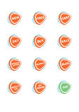 Set of 12 vector online shopping icons. Orange and blue vector illustration