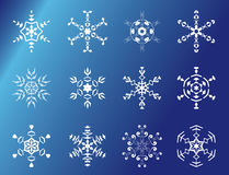 Set of 12 vector snowflakes. Set of 12 white snowflakes vector illustration