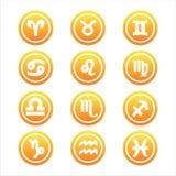 Set of 12 zodiac signs. Set of 12 orange zodiac signs Royalty Free Illustration