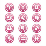 Set of 12 zodiac signs. Set of 12 pink zodiac signs royalty free illustration
