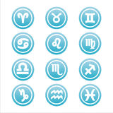 Set of 12 zodiac signs. Set of 12 blue zodiac signs vector illustration