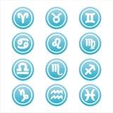 Set of 12 zodiac signs. Set of 12 blue zodiac signs Vector Illustration